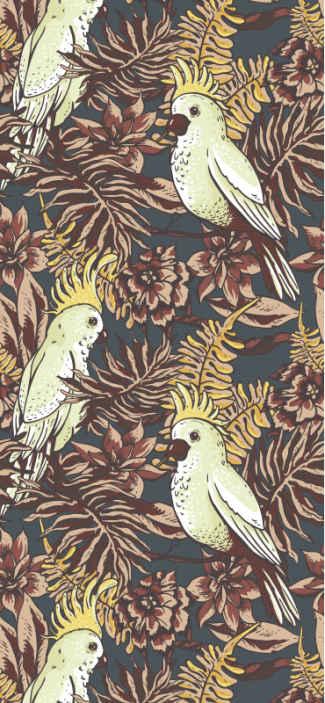 Tenstickers. Papukaija metsässä tapetti olohuone. Eläinten tapetti, jossa on monia lintuja, ympäröivät metsälehdet syksyn väreissä ja kukissa, voisi olla täydellinen valinta sinulle.