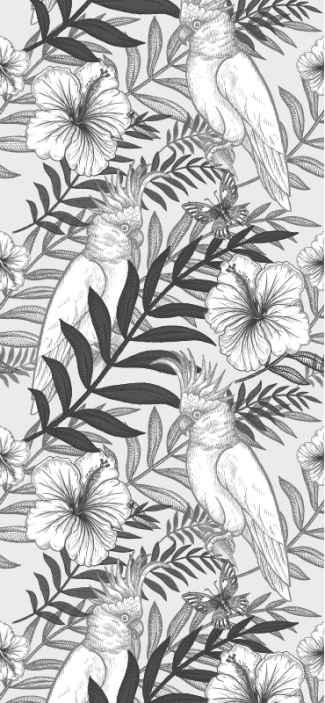 TenStickers. Papagájok és virágok étkező háttérkép. Szürke tapéta sok pálmalevél és fehér háttér illusztrációjával, tökéletes az Ön számára, hogy trópusi érzetet adjon, és ugyanakkor elegáns.