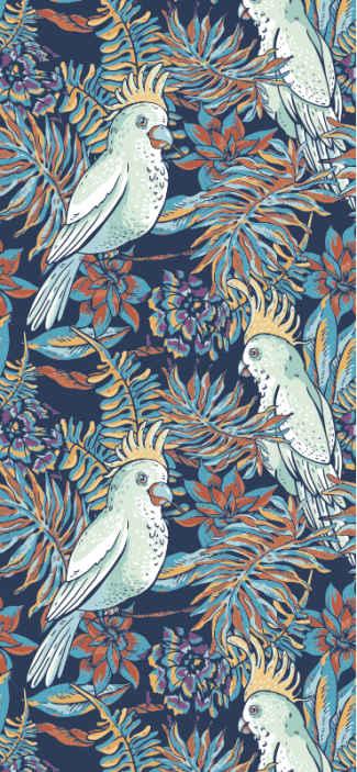 TenStickers. Papier peint salle a manger Perroquets et feuilles. Papier peint oiseau au style tropical et l'illustration de nombreux oiseaux entourés de feuilles tropicales sur fond bleu