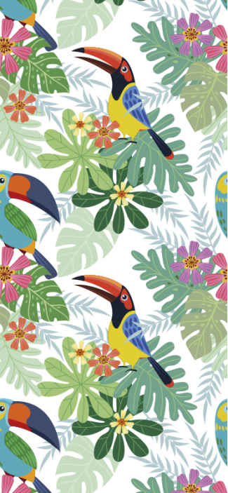 TenStickers. parrots and toucans leaves wallpaper. Vinyl wallpaper with the illustration of parrots and toucans on a white background that will fill your dining room, living room, bedroom, etc.