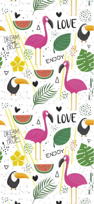 TenStickers. parrots and flamingos Kids Wallpaper. Kids bedroom wallpaper with the illustration of pink flamingos and parrots surrounded by fruits and other tropical elements on a white background.