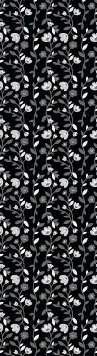 Tenstickers. Harmaat kukat musta tausta kukkatapetit. Harmaat kukat mustalla taustakuvalla - jos haluat koristella erittäin rauhallisella ja huomaamattomalla värillä, tämä on täydellinen.