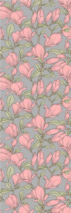 TenStickers. 粉色花朵和叶子大自然壁纸. 装饰花墙纸,在空间上营造出自然的感觉。适合儿童和其他空间的卧室墙纸。