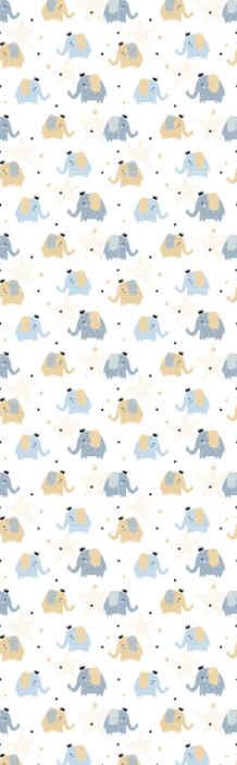 TenStickers. 异形大象酷动物壁纸. 以许多美丽的大象为插图的墙纸,在白色背景上点缀满满,设计包含灰色,黄色,蓝色等。