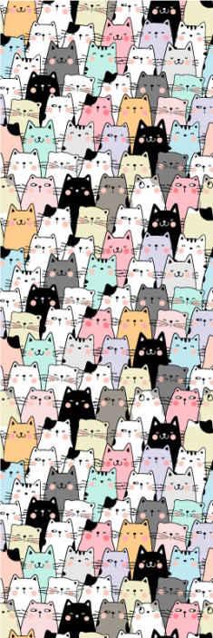 TenVinilo. Papel pintado animales Gatos. Precioso papel pintado con estampado de animales de nuestra colección de papel pintado con ilustración de gatos. Esto es perfecto para su dormitorio.