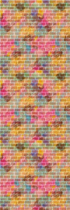 TenVinilo. Papel pintado imitación ladrillo multicolor. Papel pintado imitación ladrillo de diferentes colores para que decores tu casa de forma espectacular. Elige las unidades ¡Envío exprés!