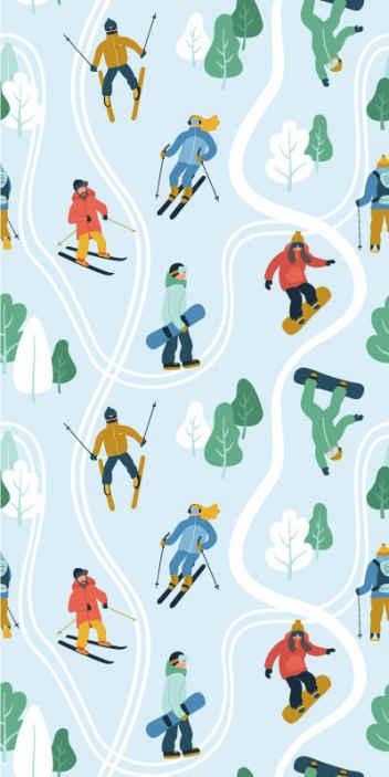 TenStickers. Tapisserie blanche papier peint de ski. Rouleau de papier peint avec l'illustration de skieurs sur fond bleu représentant la neige, idéal pour décorer les murs de votre espace.