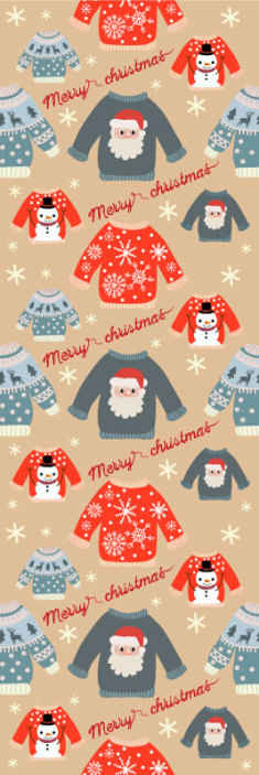 TenStickers. Cute Christmas jumpers Xmas Wallpaper. Cute merry Christmas bedroom wallpaper for children - The wallpaper is featured wit design of kids jumpers with different Christmas figures.
