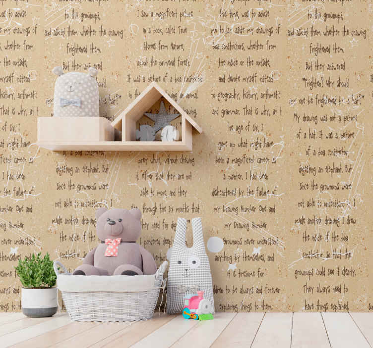 "TenStickers. The Little Prince - Spiritual Journey Art Wallpaper. Amazing artistic wallpaper with an excerpt from the book ""The Little Prince"" by Antoine de Saint-Exupéry is perfect for your kids room."