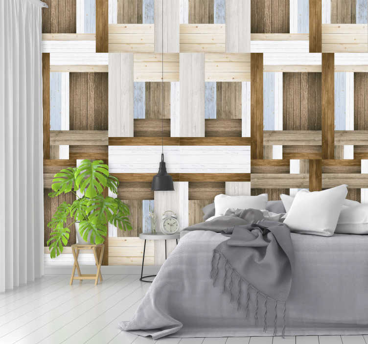 TenStickers. Wooden Labyrinth Textured Wallpaper. Decorate your home with this fantastic piece of wooden wallpaper, depicting an amazing group of wooden planks - Some might call them a labyrinth!