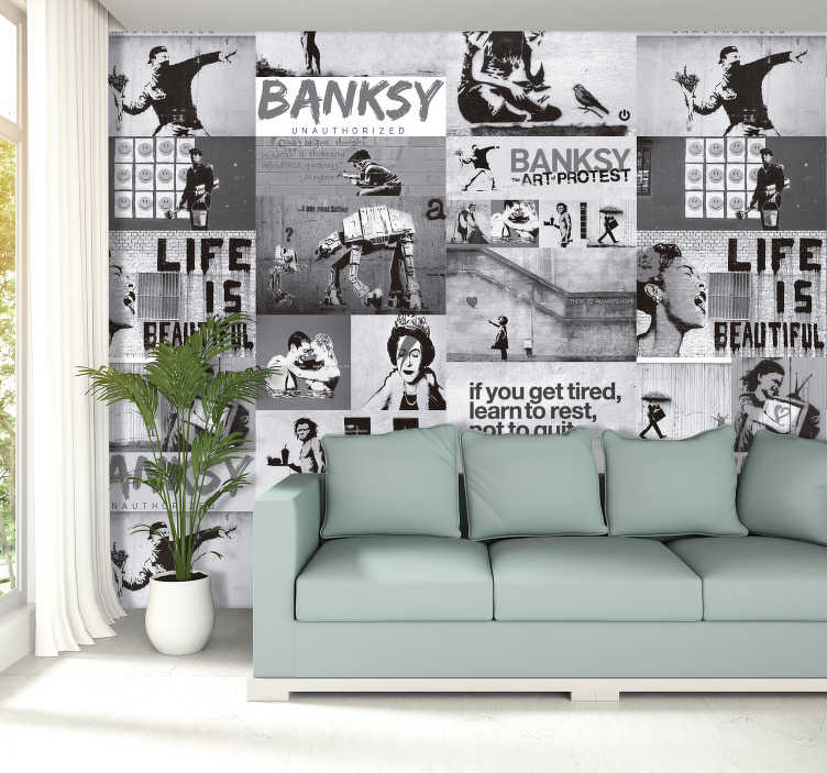 TenStickers. Kunst behang Banksy kunst collage zwart wit. Een super kunst collage behang van Banksy! Fleur je muren op metBanksy behang en Banksy kunst behang zoals dit Banksy zwart wit collage behang!
