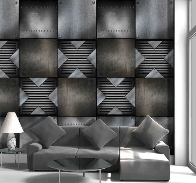 TenStickers. Harmonious Interlacing Metal Effect Wallpaper. Wonderful abstact wallpaper with a pattern imitating metal effect of different textures and shades. Ideal for an exclusive decoration.
