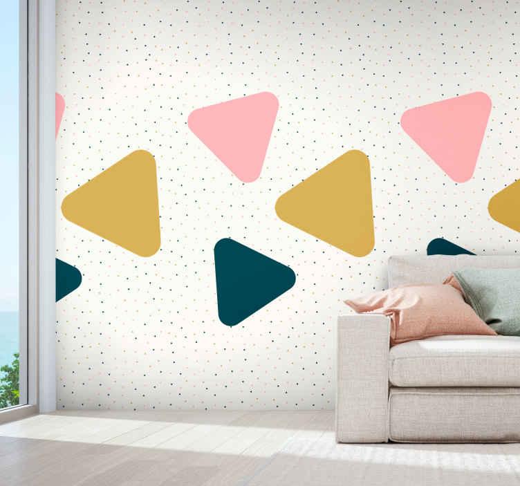 TenVinilo. Papel pintado de triángulos negros. Papel pintado de triángulos negros para decorar las paredes de la estancia que prefieras. Un diseño infantil bonito para la habitación de tus hijos.