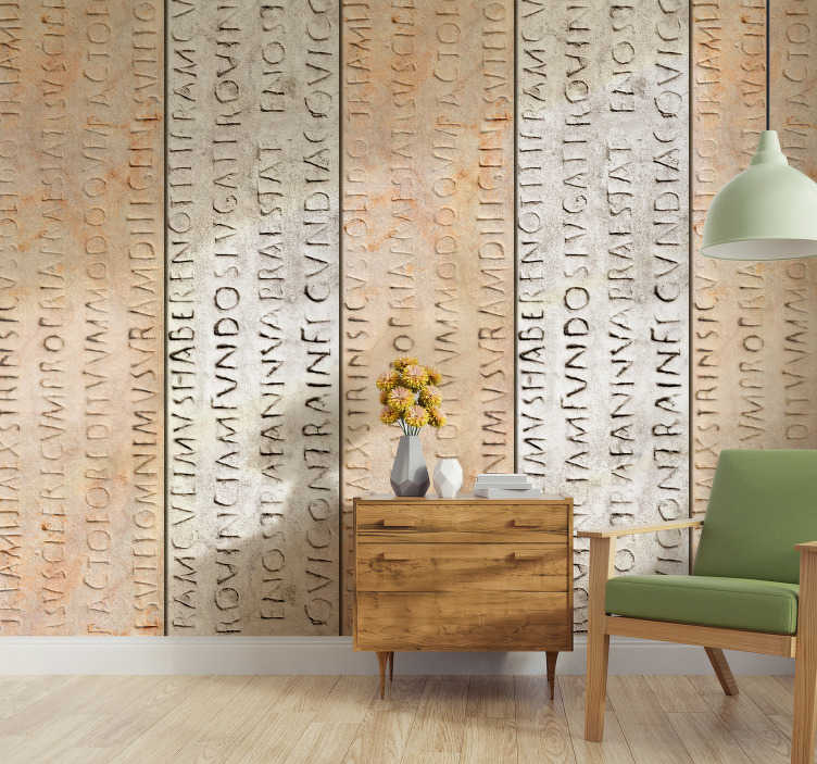 TenStickers. Epigraf Textured Wallpaper. Make your bedroom or living room a more exclusive space with this fantastic vintage wallpaper with writings in ancient greek.