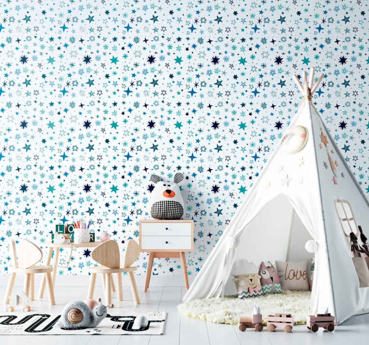 TenStickers. Wallpaper blue stars. An amazing and stunning wallpaper with stars in a blue colour would look amazing in the bedroom of your kids. You can order it in any size you want.