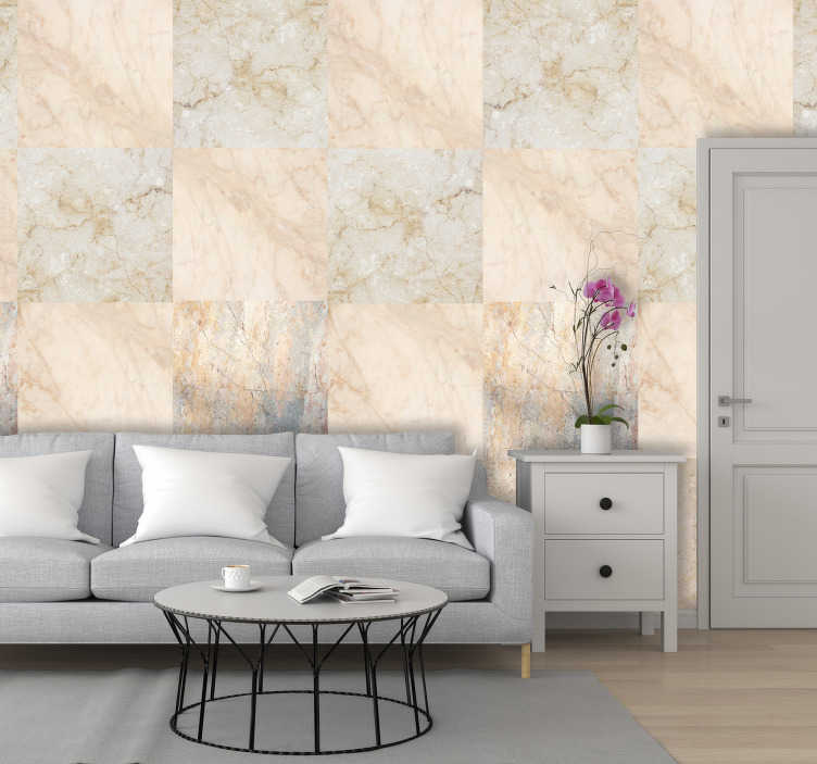 TenStickers. Beauty of Marble Pattern Wallpaper. This textured wallpaper is the perfect alternative for those who want a marble wall at a low cost. Easy to apply and includes instructions.