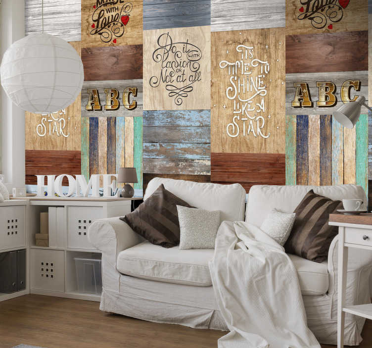 TenStickers. Wooden Inscription Pattern Wallpaper. Give your bedroom a new lease of life with this fabulous rustic wallpaper composed of a pattern formed by several phrases of love and motivation.