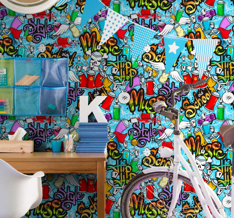TenStickers. Watchful eyes Bedroom Wallpaper. Bring life and color to your room with this spectacular artistic wallpaper with a pattern alluding to graffiti and urban art.