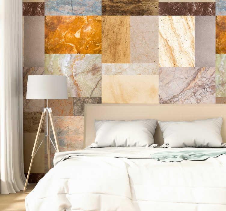 TenStickers. Elegance of Marble Pattern Wallpaper. Magnificent patterned wallpaper imitating marble, with stones of various colors and textures that will look great in your walls.