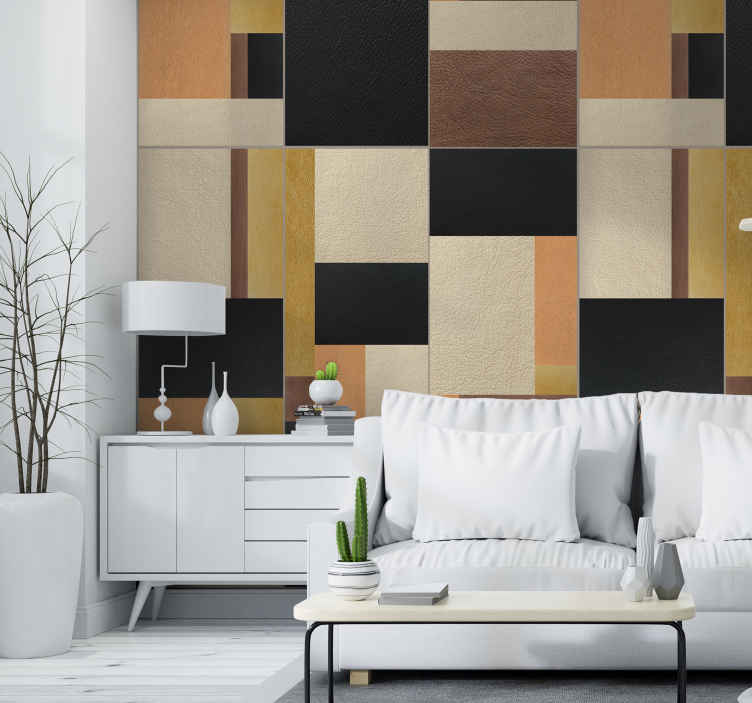 TenStickers. Wallpaper Leather mosaic. The design of this textured wallpaper is an example of an abstract piece of art that can be decoration in your living room, office, or dining room.