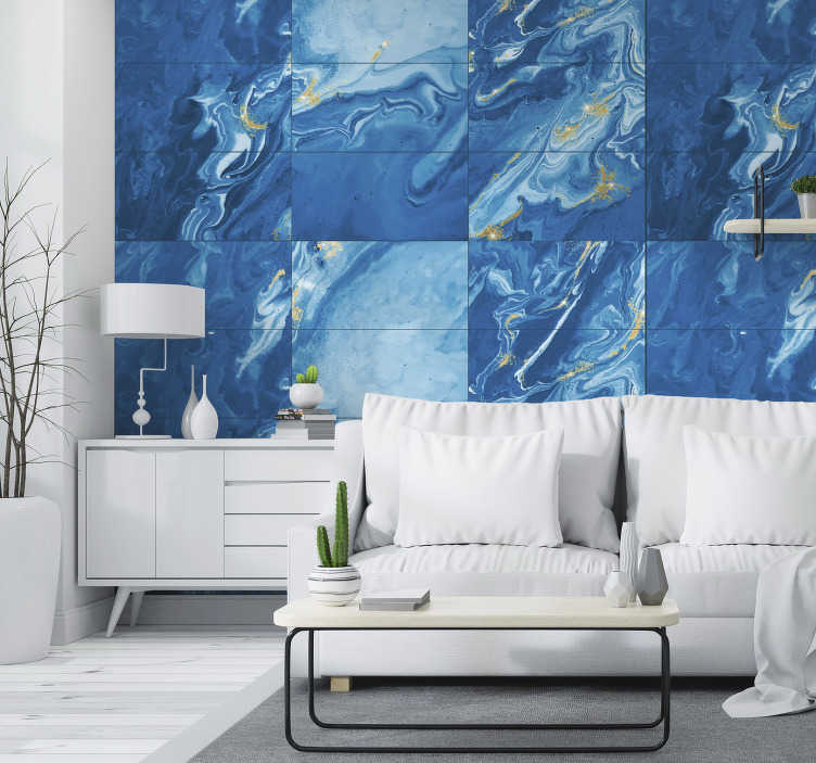 TenStickers. Blue Stone Themed Wallpaper. Looking for some stunning stone wallpaper with which to decorate that spare wall or room! Looking for it to be blue? We have you covered!