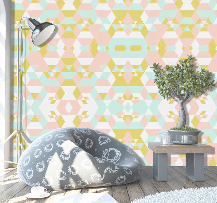 TenVinilo. Papel pared de triángulos de colores. Un diseño estupendo para dar personalidad a tu hogar y las paredes de tu estancia deseada, el papel pintado de triangulos de colores quedará genial