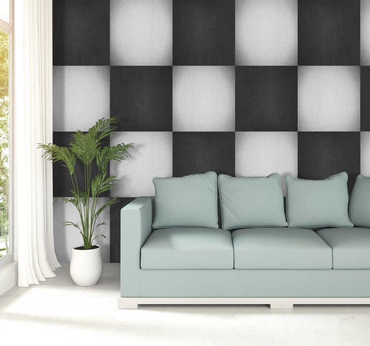 TenStickers. Leather chessboard Pattern Wallpaper. Fantastic patterned and textured wallpaper with a chessboard pattern with alternating black and white squares, with a texture imitating leather.