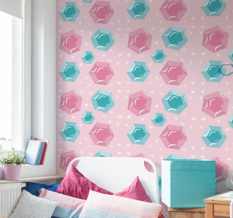 TenStickers. Pink Jewels Kids Wallpaper. Transform your daughter's room into a super personalized, original and unique space, with this magnificent abstract wallpaper.
