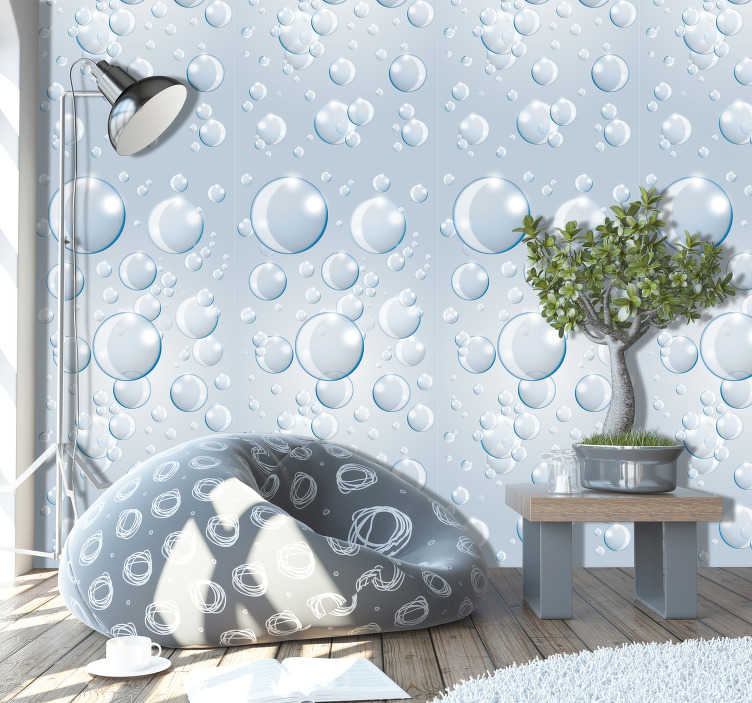 TenStickers. Bubble Dance 3D Wallpaper. Make your living room or any other part of your home or business an extraordinary place with this abstract wallpaper with a pattern of bubbles.