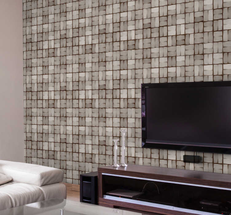 TenStickers. Stone background: mosaic Vintage Wallpaper. Fantastic textured wallpaper with pattern formed by a mosaic to imitate stone texture that will look great in any room of your house!