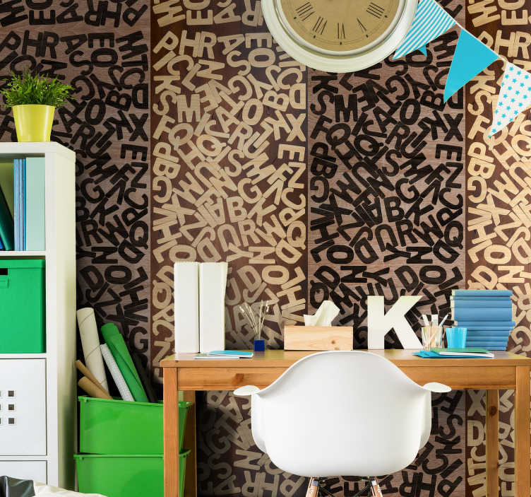 TenStickers. Verbal Puzzle Modern Wallpaper. Decorate your children's room in a personalized way with this letter wallpaper whose pattern is formed by a heap of letters in beige and black tones.