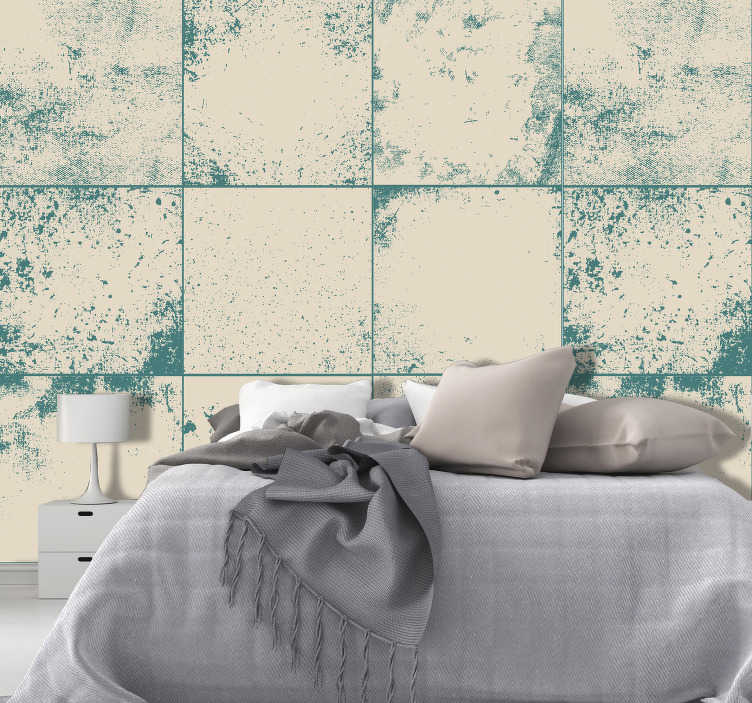 TenStickers. 수중 꿈 3d 벽지. 초록색으로 칠한 흰색 타일을 모방 한이 환상적인 질감과 패턴 벽지는 침실이나 거실에서 완벽합니다.
