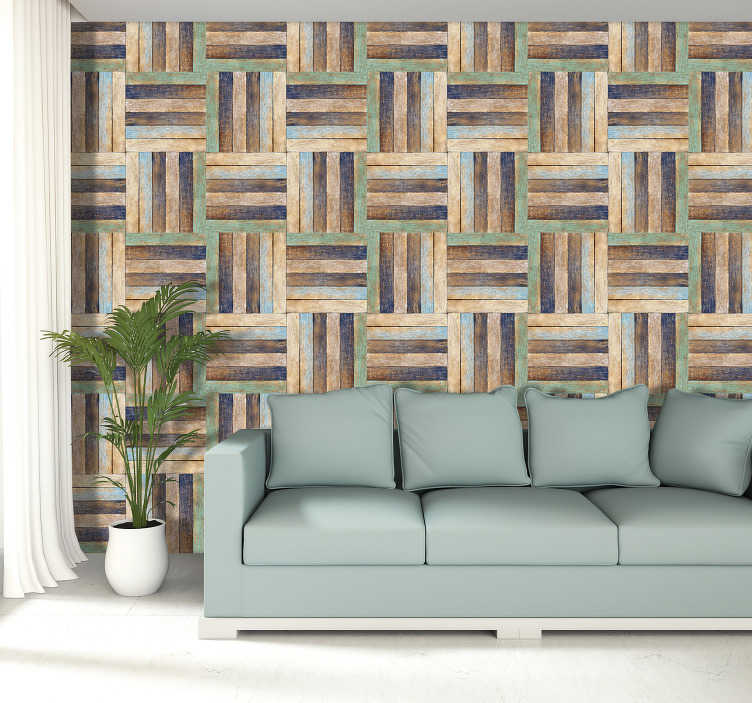 TenStickers. Weave of colours wood Pattern Wallpaper. If you want to add a lovely splash of colour to your walls this wood effect wallpaper is what you need! Beautiful, unique pattern.