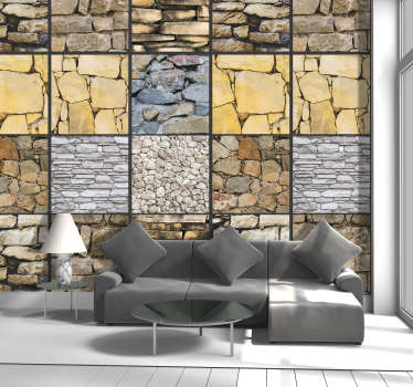 "Add a new and fresh ""look"" to your living room or dining room with this fantastic vintage wallpaper with a puzzle of stones."