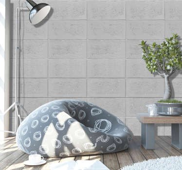 Stone dream textured wallpaper. Give your room a new facet, with this fantastic pattern of rectangles imitating concrete in shades of light gray.