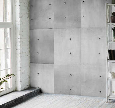 "Concrete vinyl wallpaper with a ""dirty"" white pattern composed of concrete imitation rectangles arranged vertically, perfect for your dining room."