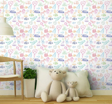 Kid room wallpaper with cars, tanks, planes, balloons, boats, balls, horses and many more is a great way to decorate their bedrooms in an original way