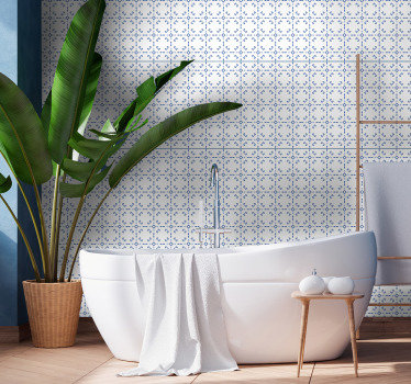 Tile effect wallpaper that is a perfect alternative to the old-fashion way. Blue diamonds, arrows and more are a perfect way to upgrade this room.