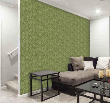 Dekorativt tapet er en perfekt måte å endre de kjedelige veggene til et spektakulært kunstverk. Designet består av lysegrønne blomster.