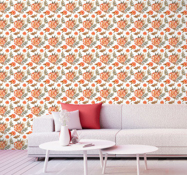 Bring some nature to your house with this spectacular design of flower wallpaper. It consists of orange petals and brown leaves.