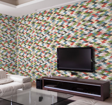 Je hebt niets anders in je leven nodig wanneer je dit moderne behang in je woonkamer hebt. Hierdoor worden uw kamers groter.