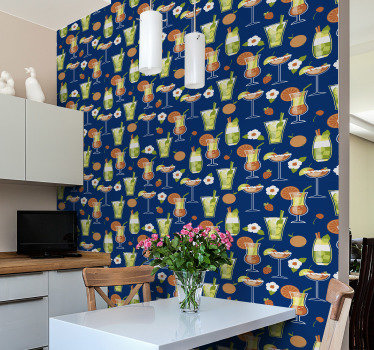 Kitchen vinyl wallpaper is not only amazing decoration but also a practical choice. Design of a wide range of cocktails including mojitos and others.