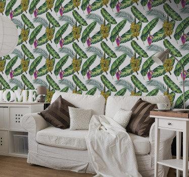 Mira este papel pintado natural, se ve tan bien que casi te sentirás como si estuvieras en la jungla llena de plantas exóticas, plátanos y mucho más.