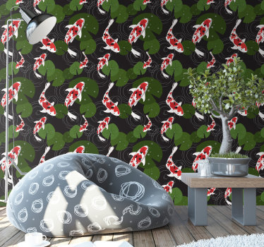 Order this animal wallpaper with unusual design of fish swimming around the beautiful lake full of leaves. Best possible quality.
