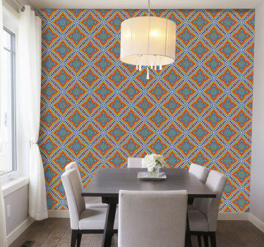 Decorate your living room with ornamental wallpaper to bring some colours to your walls. Easy application of the product.