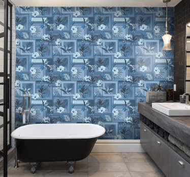Blue and white wallpaper is a great idea to redecorate your bathroom in a cheap, hence stylish way. Order our high quality product now!