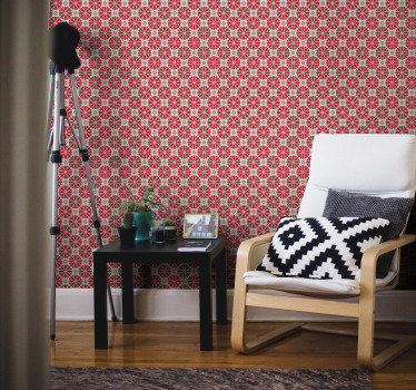Designul acestui tapet ornamental arată un patern de flori roșii adunate în jurul unor forme uimitoare. Material de înaltă calitate!