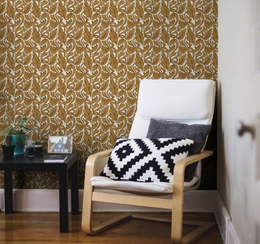 Change your interiors into places full of elegance and luxury with wallpapers for living room wih this amazing design of gold flowers and leaves.