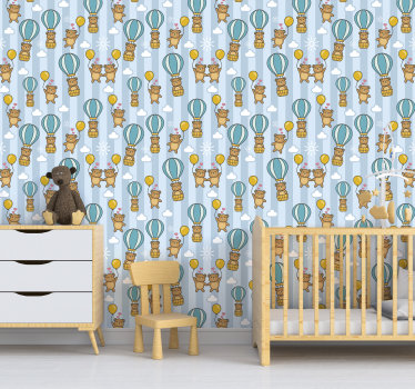 The design of this kids bedroom wallpaper shows plenty of cute bears floating with baloons in their hands. You can also see some clouds and hearts.
