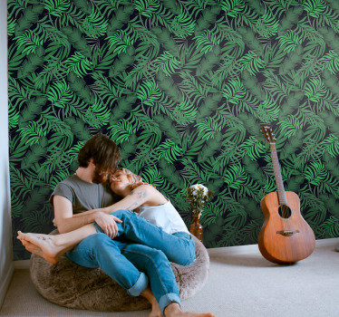 Order this green wallpaper with leaves of the jungle to bring some nature to your home and to create a peacful sanctuary.